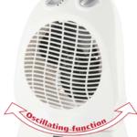 Radiateur soufflant élect 2kW avec thermostat + rotation auto -Blanc