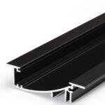 Profilé LED FLAT8 /1m alu anodisé noir (H/UX)