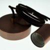Luminaire marron : douille E27 + rosace + câble textile 2m
