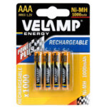 4 piles rechargeables NI-MH AAA 1000 mAh