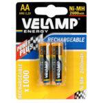 2 piles rechargeables NI-MH AA 2600 mHA