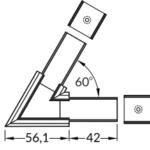 Connecteur LINEA20 alu noir 60° (set de 2)