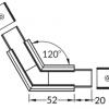 Connecteur LINEA-IN20 120° alu anodisé noir (set de 2)