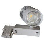 Projecteur LED COB 3 phases sur rail 40W 4220Lm 4000K 38° couleur argent