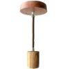Luminaire bois : douille E27 + rosace + câble textile 1m
