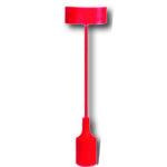 Luminaire silicone rouge : douille E27 + rosace + câble textile 1m