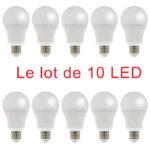 10 ampoules LED standard E27 9W 800Lm 3000K blanc chaud