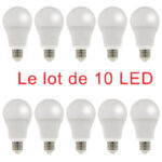 Lot de 10 Ampoules LED Standard 9W E27 800Lm 3000K blanc chaud