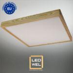 Cadre Design bois 60x60cm en Chêne clair massif avec Panel LED 40W 4000Lm 4000K blanc neutre