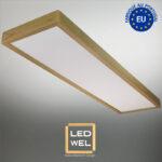 Cadre Design bois 30x120cm en Chêne clair massif avec Panel LED 40W 4000Lm 4000K blanc neutre