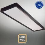 Cadre Design bois 30x120cm laqué noir avec Panel LED 40W 4000Lm 4000K blanc neutre