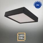 Cadre Design bois 30x30cm laqué noir avec Panel LED 18W 1400Lm 4000K blanc neutre