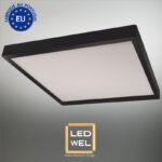 Cadre Design bois 60x60cmc laqué noir avec Panel LED 40W 4000Lm 4000K blanc neutre