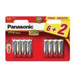 Pile Alcaline Panasonic LR6 AA PRO POWER – blister de 6 + 2 offertes
