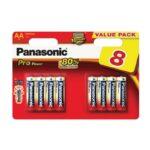 Pile Alcaline Panasonic LR6 AA PRO POWER – blister de 8
