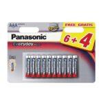 Pile Alcaline Panasonic LR03 AAA EVERYDAY POWER – blister de 6 + 4 offertes
