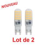 Lot de 2 ampoules LED Capsule G9 4W 350Lm 3000K blanc chaud